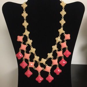 Waterfall fashion beige & pink necklace